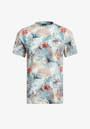Print T-shirt - blue, off-white, red
