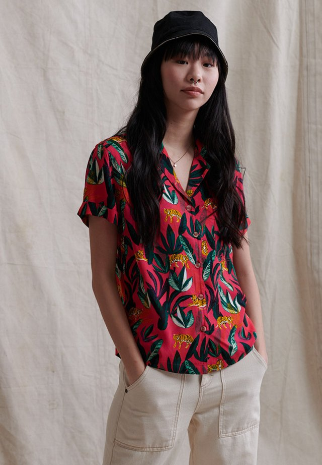 Button-down blouse - red aop