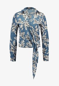 Missguided - PURPOSEFUL FLORAL WRAP OVER TIE FRONT - Blouse - blue - 4