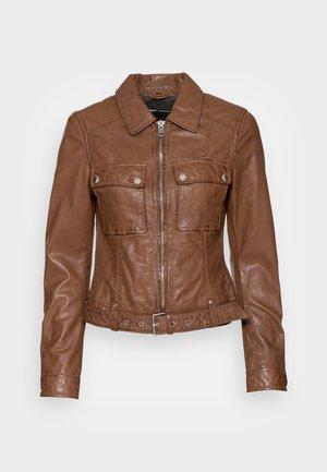 VICKY - Leather jacket - cognac