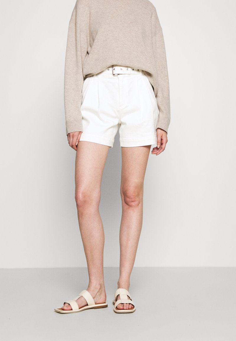 MICHAEL Michael Kors - PLEATED BELTED - Denim shorts - white