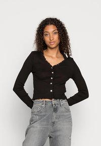 Vero Moda - VMANITA  V-NECK BUTTONS - Long sleeved top - black - 0