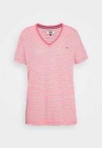 TEXTURE FEEL V NECK TEE - Print T-shirt - glamour pink/white
