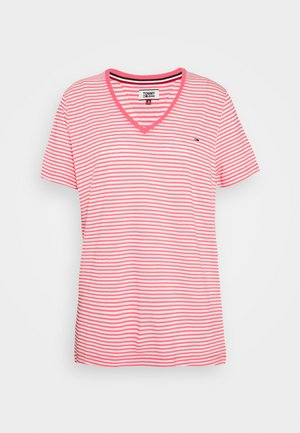 TEXTURE FEEL V NECK TEE - T-shirt con stampa - glamour pink/white