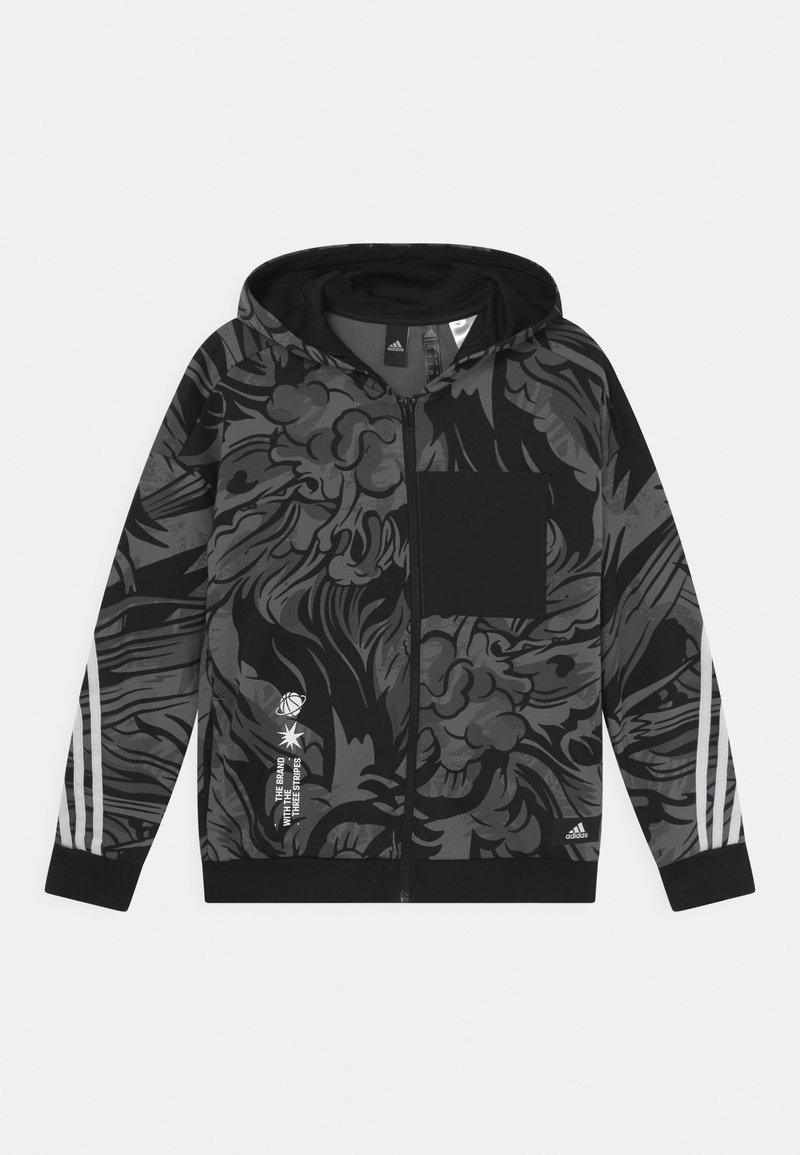 adidas Performance - HOOD UNISEX - Zip-up sweatshirt - black/white