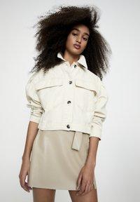 PULL&BEAR - Faux leather jacket - beige - 3