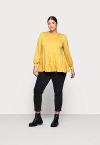 New Look Curves - TIER PEPLUM - Long sleeved top - dark yellow - 1