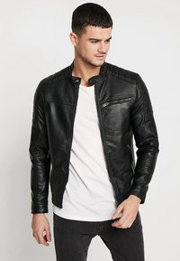Jack & Jones - JJEROCKY JACKET - Imitert skinnjakke - black - 2
