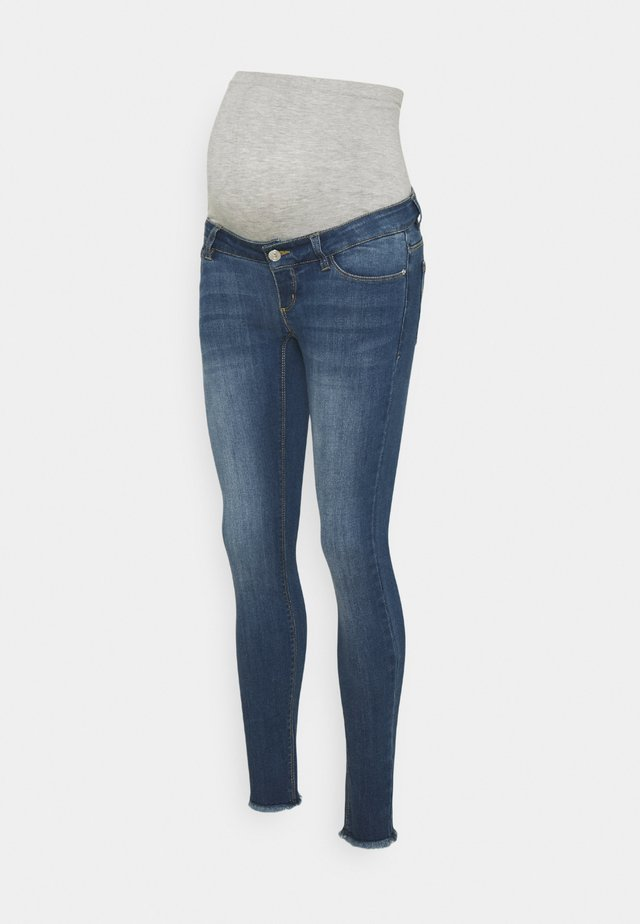 PCMDELLA 7/8 RAW EDGE JEANS - Skinny džíny - medium blue denim
