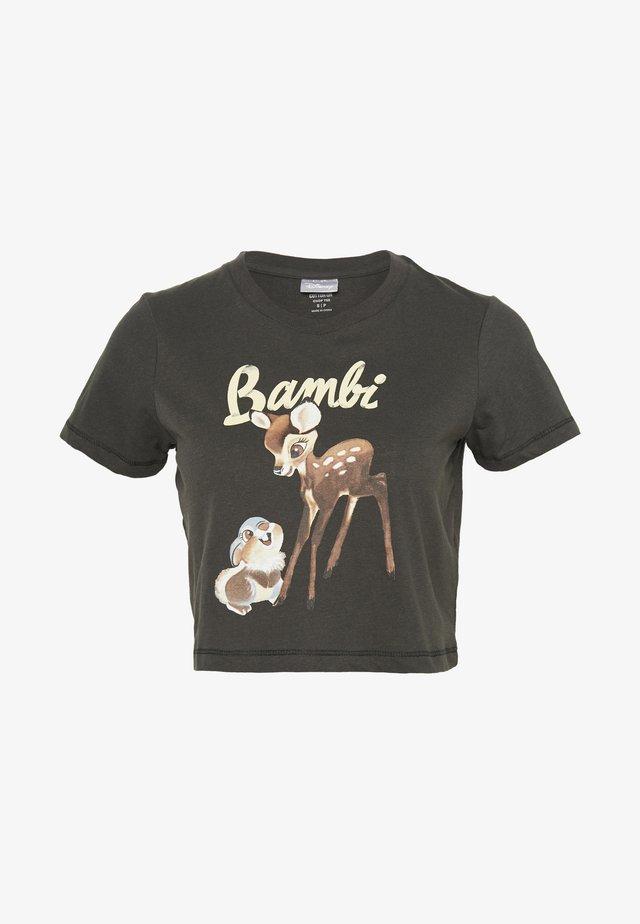 CARA GRAPHIC CROP - T-shirts print - washed black