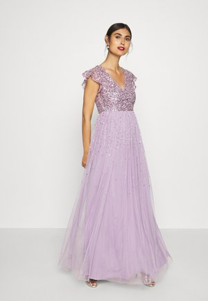 V NECK FLUTTER SLEEVE DRESS WITH SCATTERED SEQUINS - Gallakjole - lavender