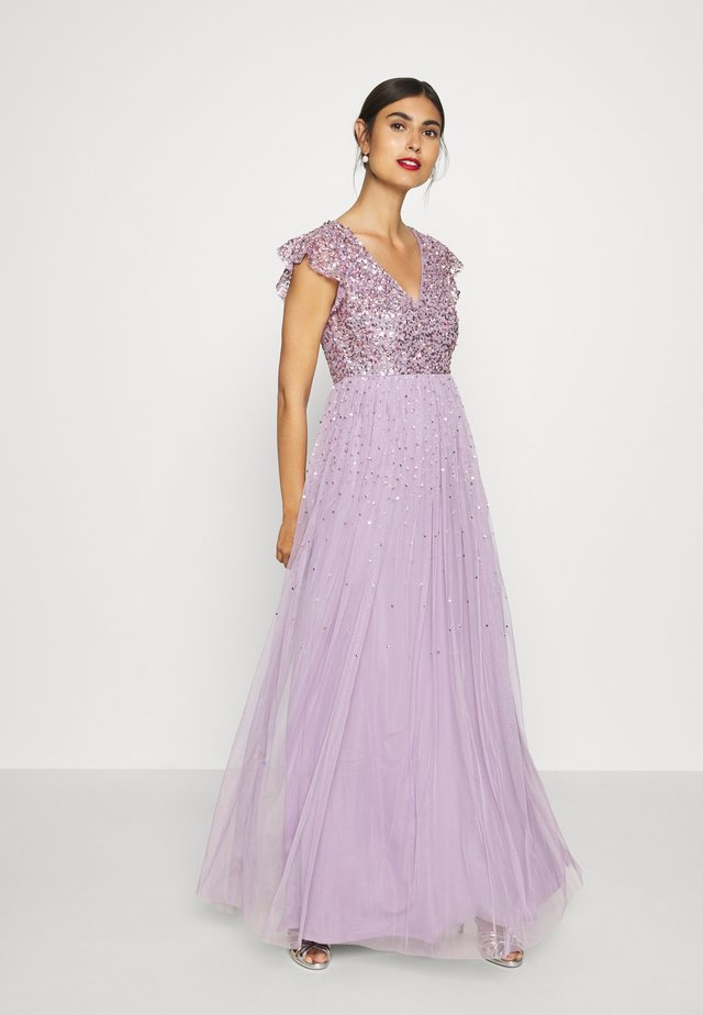 V NECK FLUTTER SLEEVE DRESS WITH SCATTERED SEQUINS - Galajurk - lavender