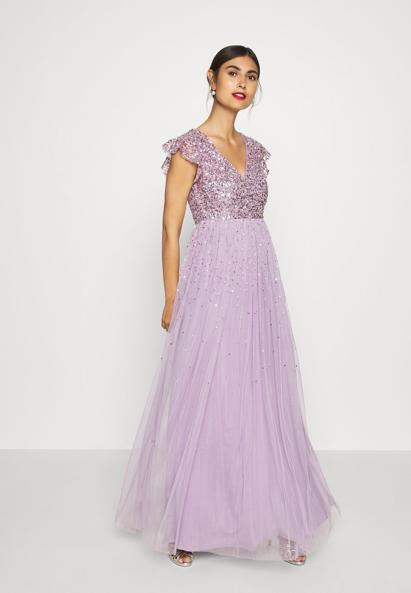 Maya Deluxe - V NECK FLUTTER SLEEVE DRESS WITH SCATTERED SEQUINS - Robe de cocktail - lavender