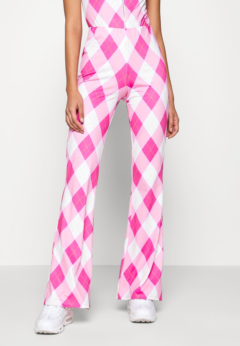 Jaded London - BOOTCUT TROUSER DIAMOND CHECK PRINT - Stoffhose - pink