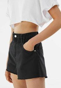 Bershka - Denim shorts - dark grey - 3