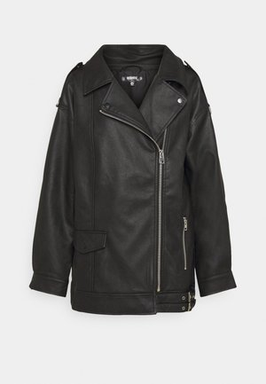 LONGLINE VINTAGE BIKER - Faux leather jacket - black