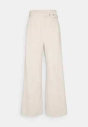 BYDANTA ASYMMETRIC PLEATS PANTS - Trousers - oyster