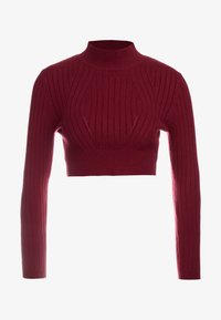 HIGH NECK JUMPER WITH TIE BACK - Jumper - rust