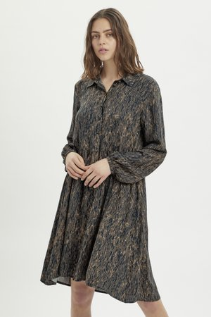 Day dress - total eclipse / brown print