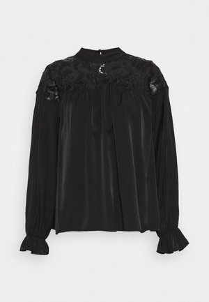 BROIDERY TRIM BLOUSE WITH LONG SLEEVES AND HIGH NECK - Blůza - black
