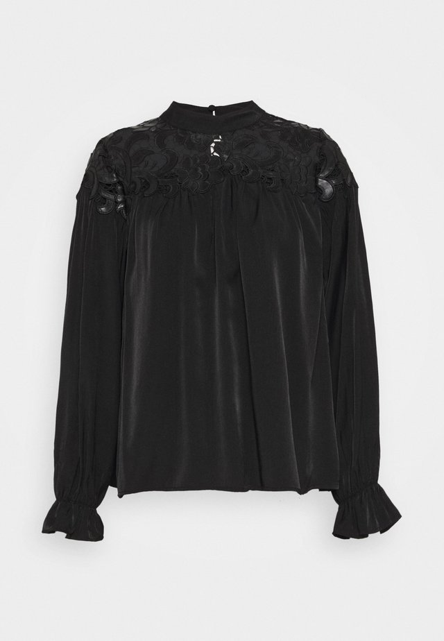 BROIDERY TRIM BLOUSE WITH LONG SLEEVES AND HIGH NECK - Blouse - black