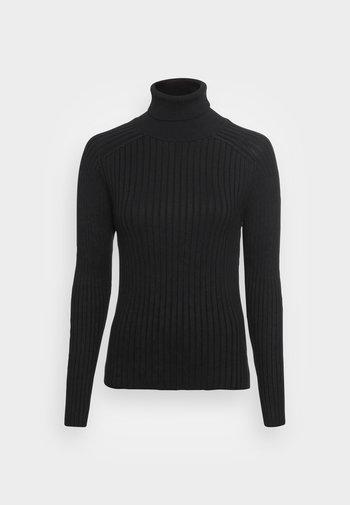 LONGSLEEVE TURTLE NECK STRUCTURE - Jumper - black
