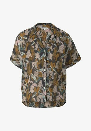 Button-down blouse - abstract monkey print