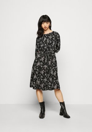 BILLIE DITSY FIT AND FLARE DRESS - Day dress - black