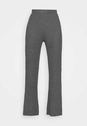 RIBBED FLARE TROUSERS - Trousers - mottled dark grey