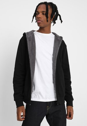 SHERPA LINED ZIP HOODY - Sweatjacke - black/grey