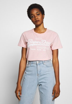 FLORAL INFILL ENTRY TEE - Print T-shirt - soft pink marl