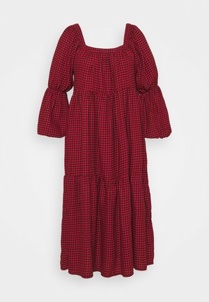 DOGTOOTH SMOCK DRESS - Day dress - red