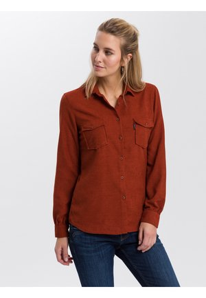 Button-down blouse - brick