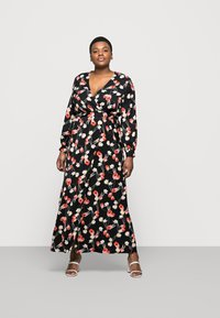 Missguided Plus - PLUNGE DRESS FLORAL - Day dress - red - 1