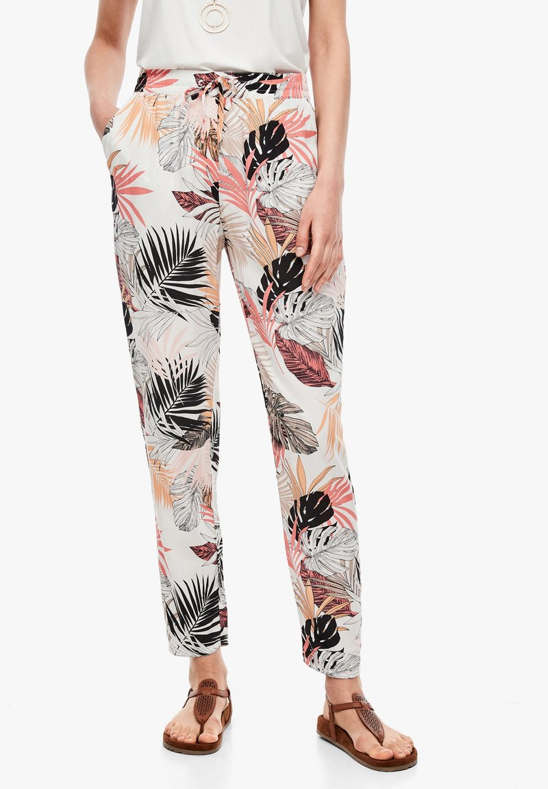 s.Oliver - Trousers - off-white aop