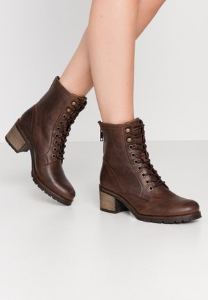 Lace-up ankle boots - dark brown
