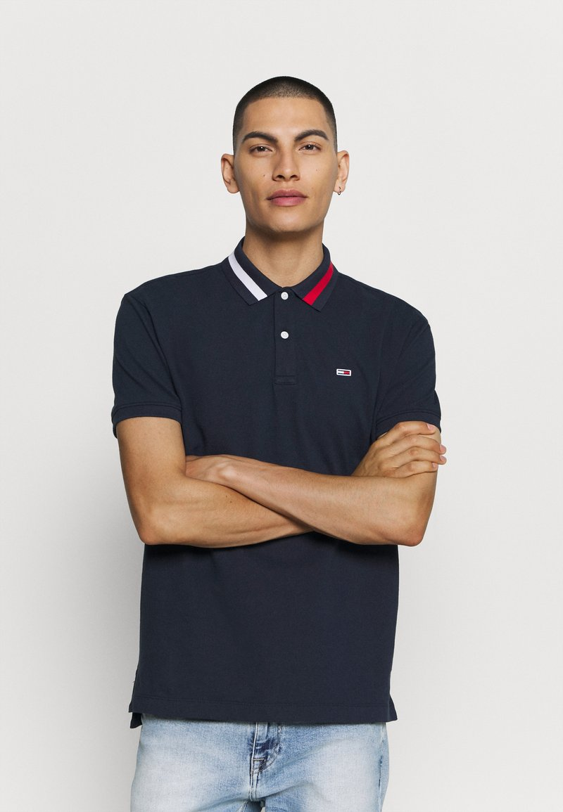 Tommy Jeans - FLAG NECK  - Poloshirts - twilight navy