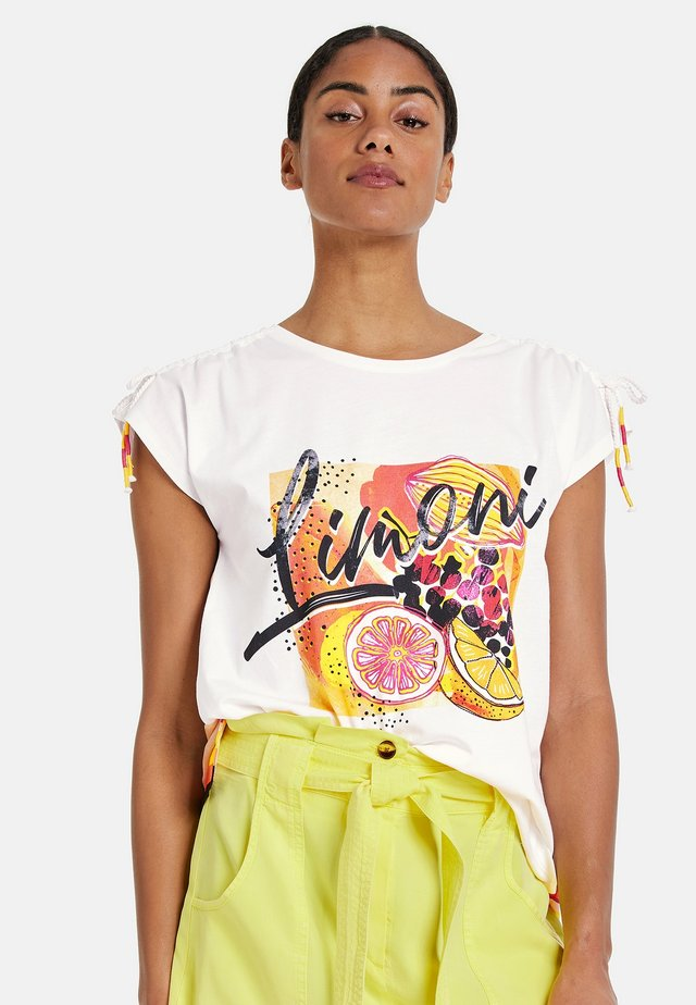 Print T-shirt - offwhite gemustert