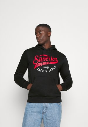 JJELOGO HOOD - Sweat à capuche - black