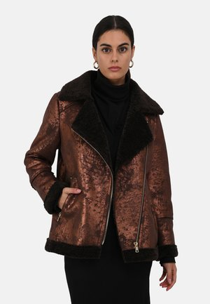 Faux leather jacket - chestnut