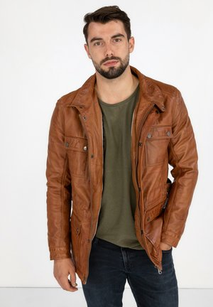 TROOPER - Leather jacket - cognac braun