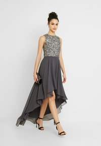 Lace & Beads - HANKERCHIEF HIGH LOW DRESS - Robe de cocktail - charcoal - 2