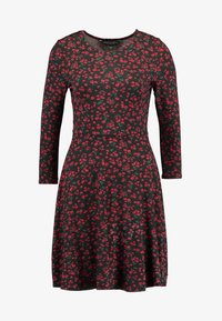 Dorothy Perkins - DITSY FLORAL FIT FLARE - Jerseykjoler - red - 4