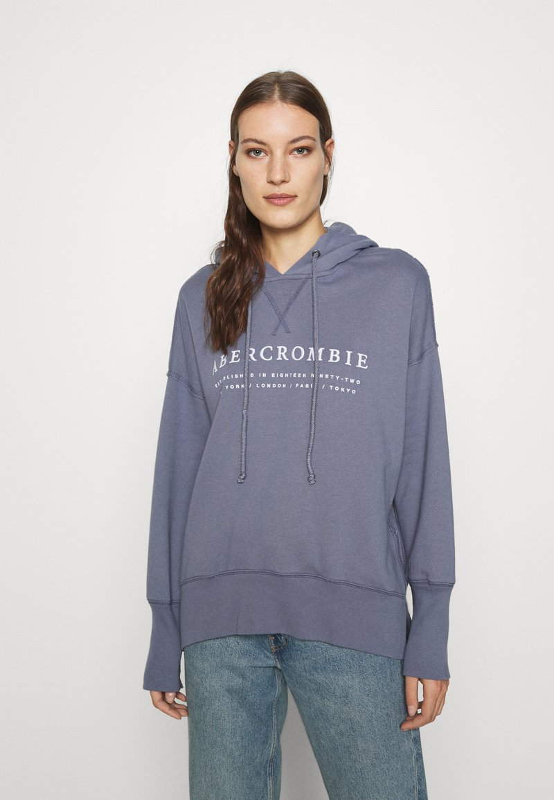 Abercrombie & Fitch - LOGO POPOVER - Hoodie - blue
