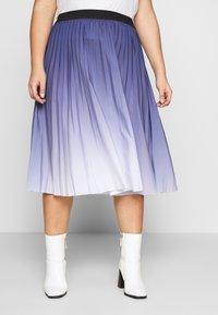 MY TRUE ME TOM TAILOR - PLEATED MIDI SKIRT - A-line skirt - real navy blue - 0