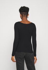 NA-KD - FRONT RUCHED - T-shirt à manches longues - black - 2