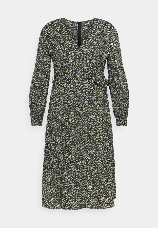 V NECK MIDAXI DRESS FLORAL - Hverdagskjoler - black