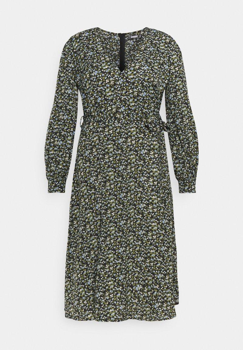 Missguided Plus - V NECK MIDAXI DRESS FLORAL - Day dress - black
