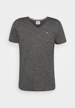 SLIM JASPE V NECK - Camiseta básica - black