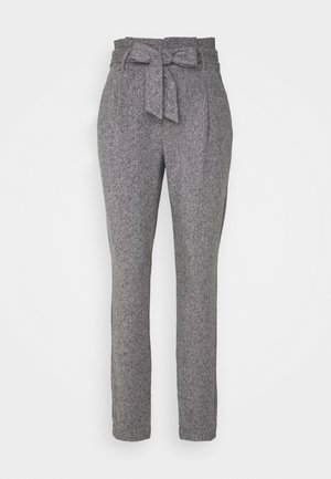 VMEVA LOOSE PAPERBAG PANT - Stoffhose - medium grey melange/salt/ pepper